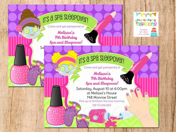 11 Spa Party Invitations Psd Ai Word