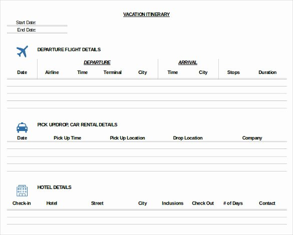 11 Trip Itinerary Templates – Free Sample Example