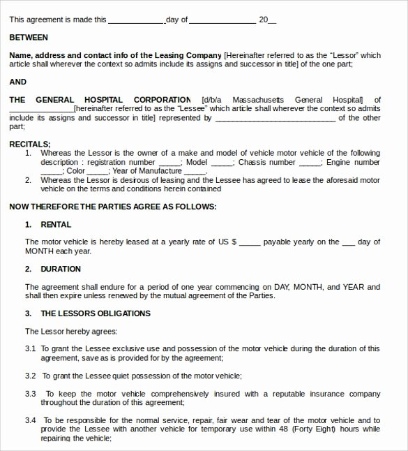 11 Vehicle Lease Agreement Templates to Download
