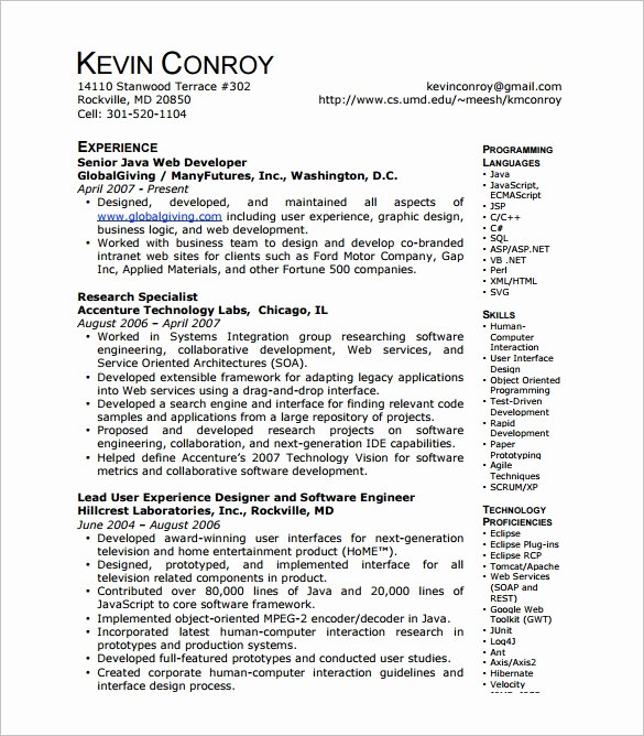 11 Web Developer Resume Templates Doc Pdf