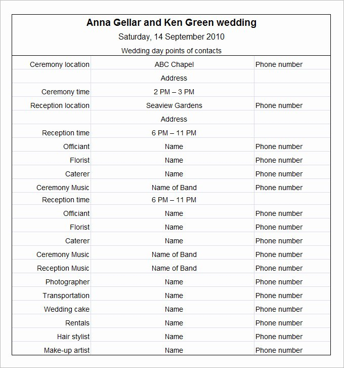 11 Wedding Schedule Templates Free Pdf Doc format