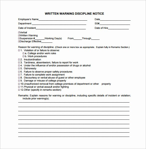 11 Written Warning Templates – Pdf