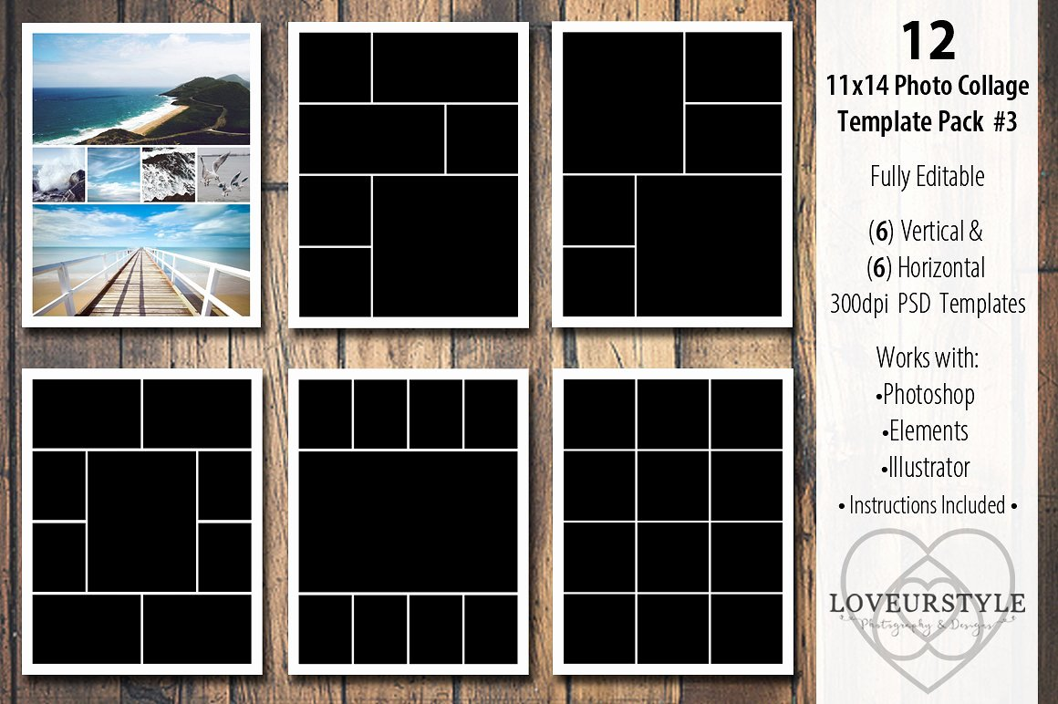 11x14 Collage Template Pack 3 Templates Creative
