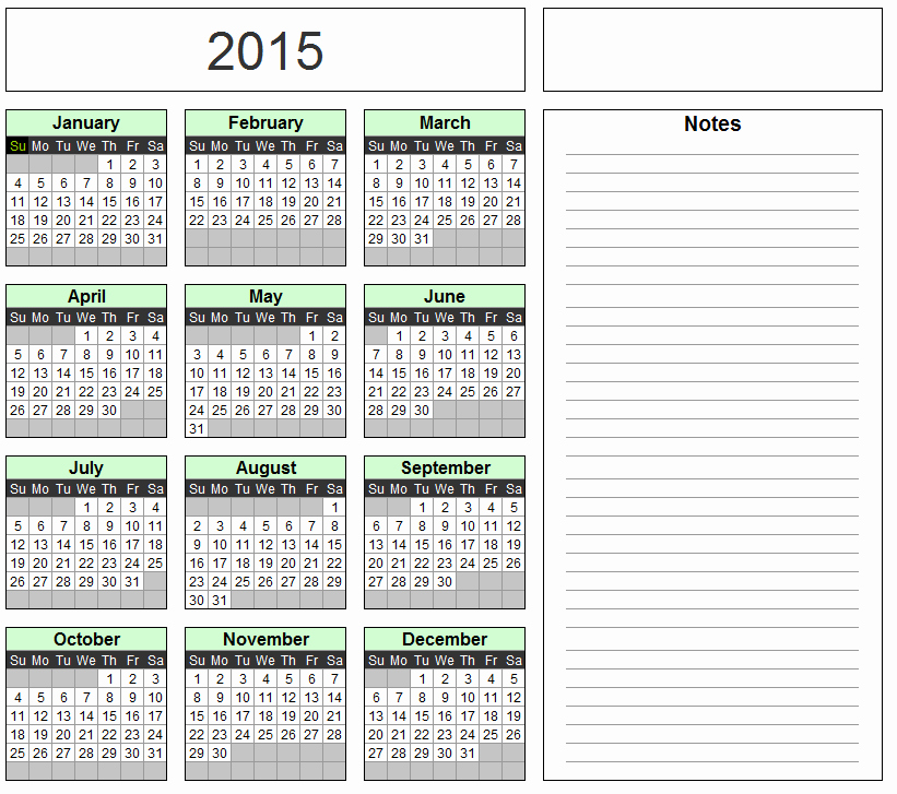 11×17 Calendar Template for 2016 Excel