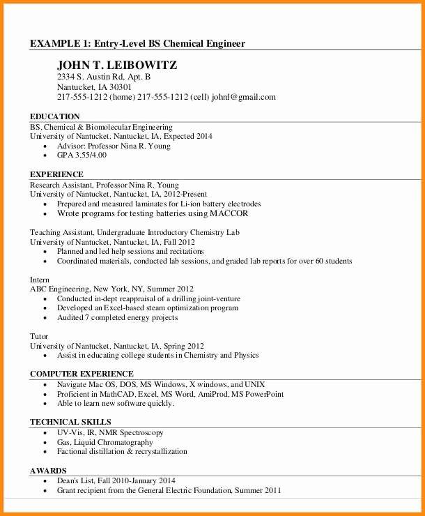 12 13 Chemical Engineering Skills Resume