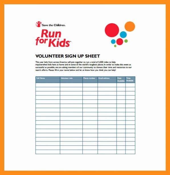 12 13 Volunteer Signup Sheet Template