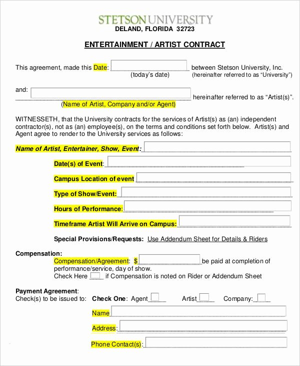 12 Artist Contract Templates Free Sample Example
