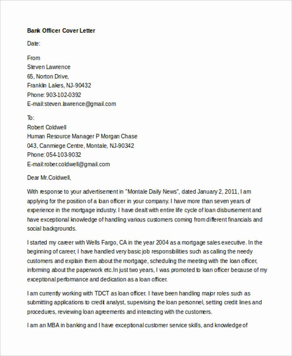12 Banking Cover Letter Templates Sample Example