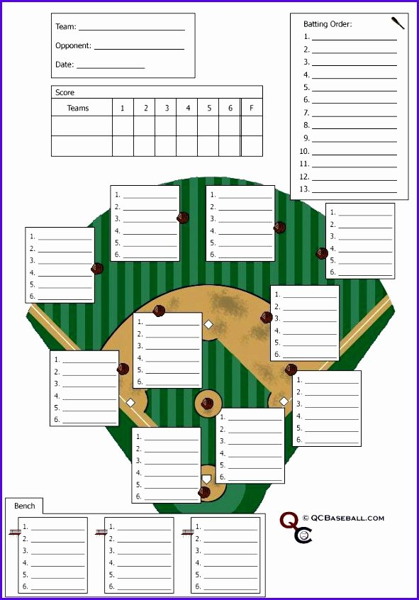 12 Baseball Lineup Excel Template Exceltemplates
