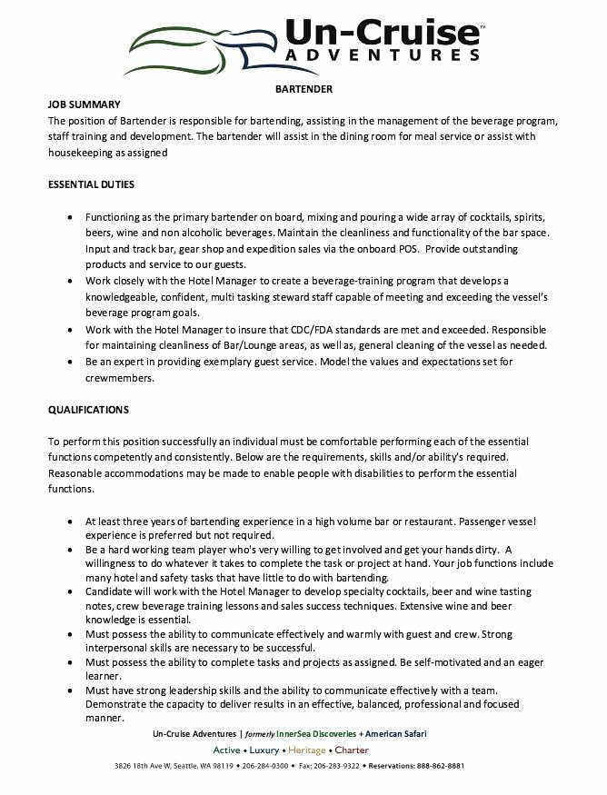 12 Best 7 16 2017 Bartender Resume Images On Pinterest