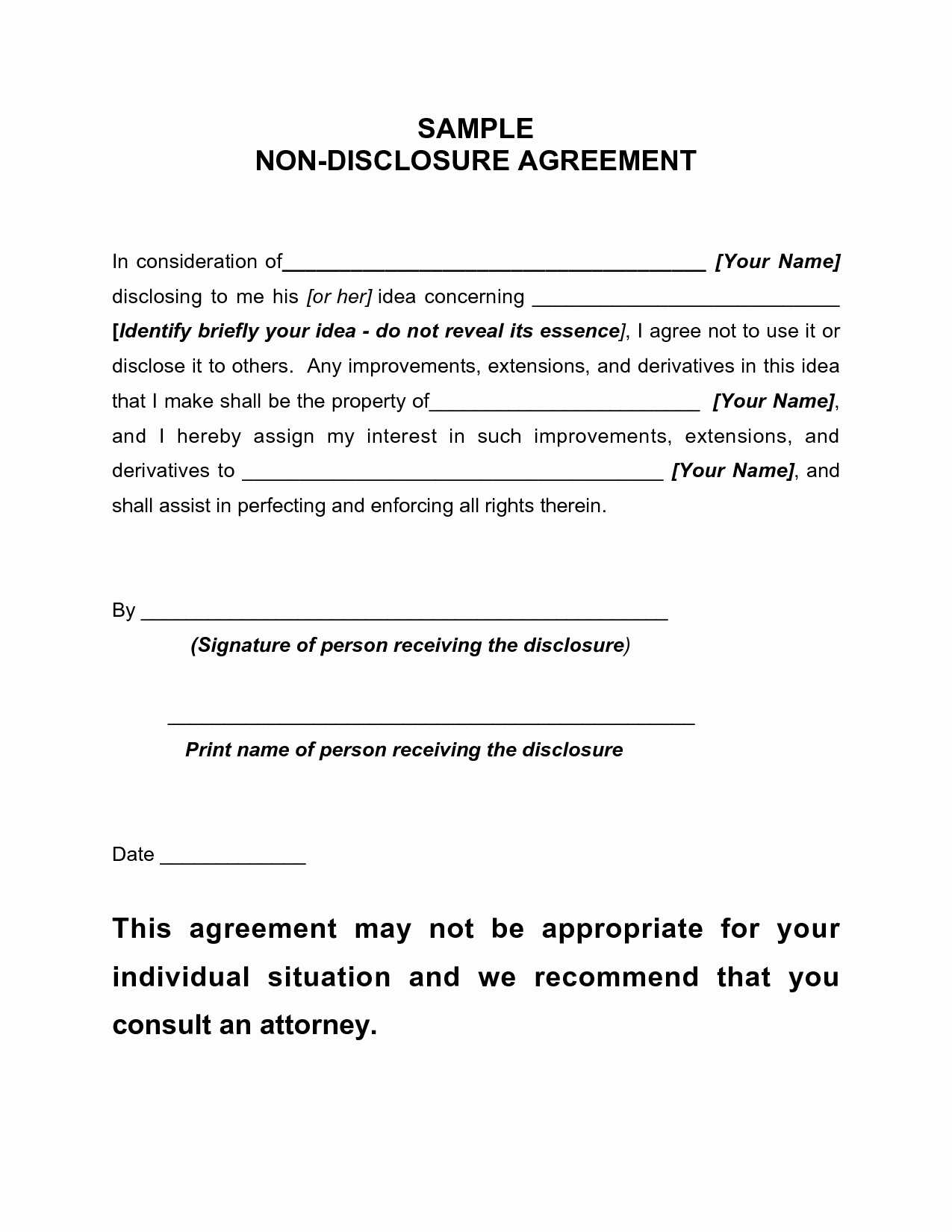 12 Best Of Simple Non Disclosure Agreement Pdf