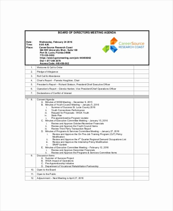 12 Board Of Directors Meeting Agenda Templates – Free
