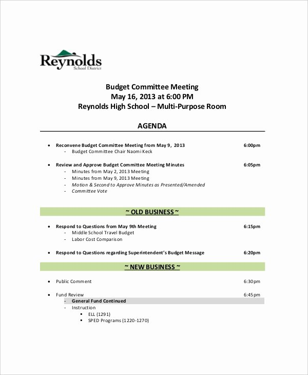 12 Bud Meeting Agenda Templates – Free Sample Example