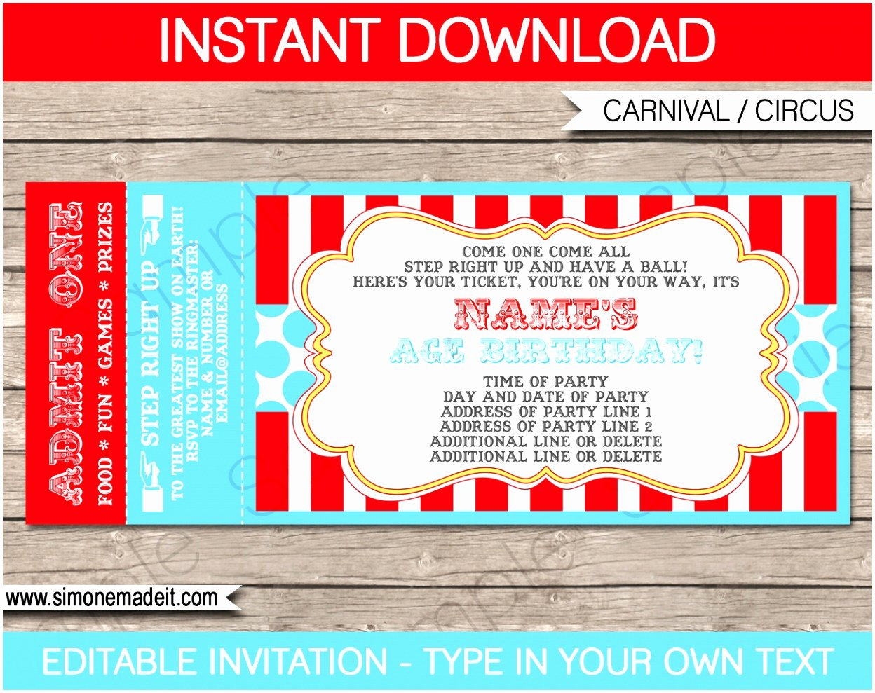12 Carnival Ticket Invitation Template Prwtv
