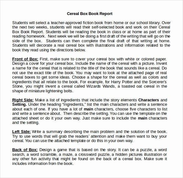12 Cereal Box Book Report Templates – Samples Examples