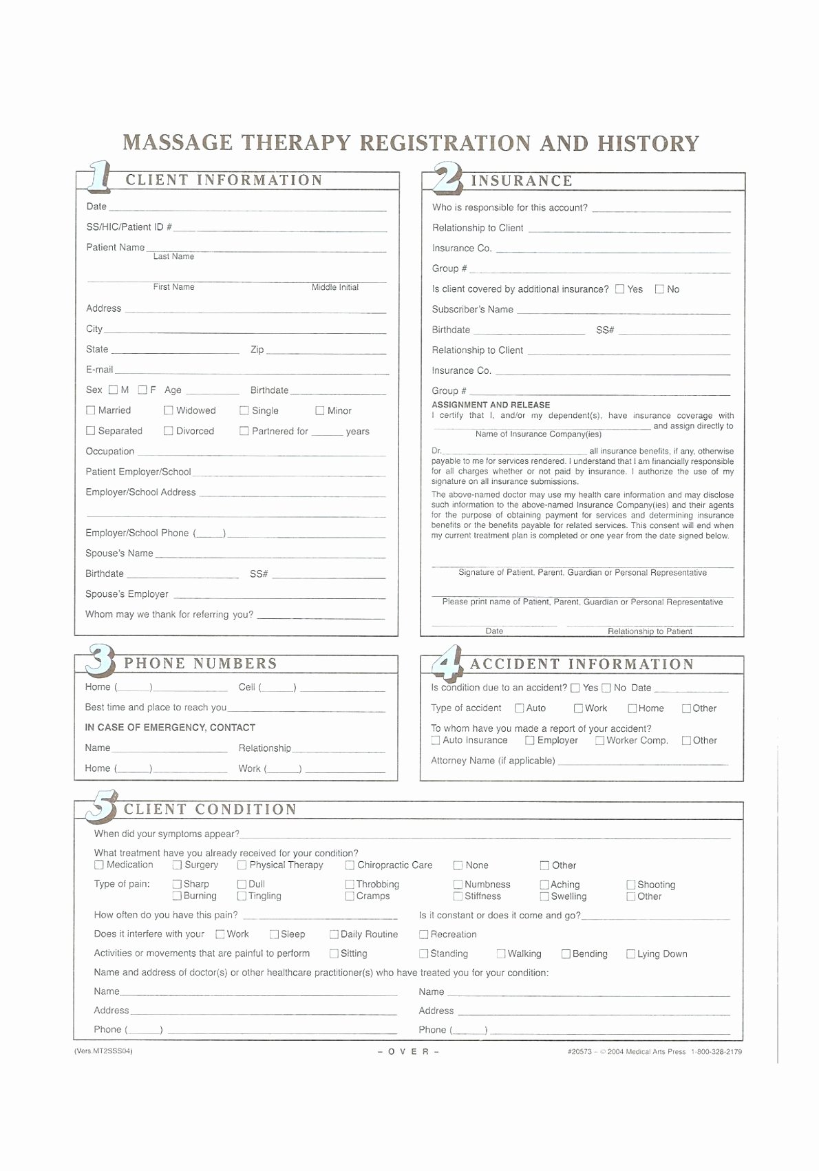 12 Client Intake form Massage therapy Template Yuprt