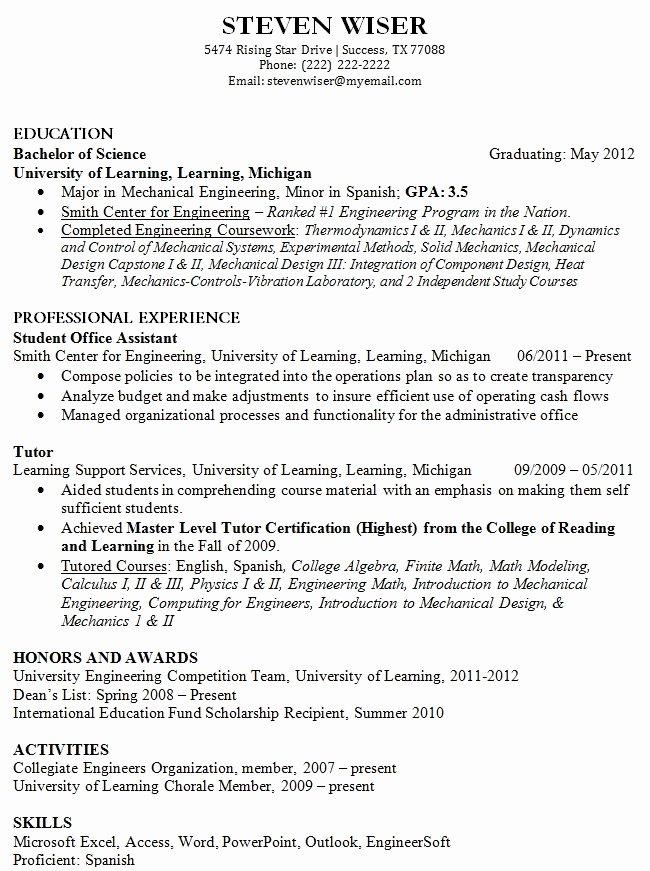 12 College Fresh Graduate Resume Samples Easy Resume