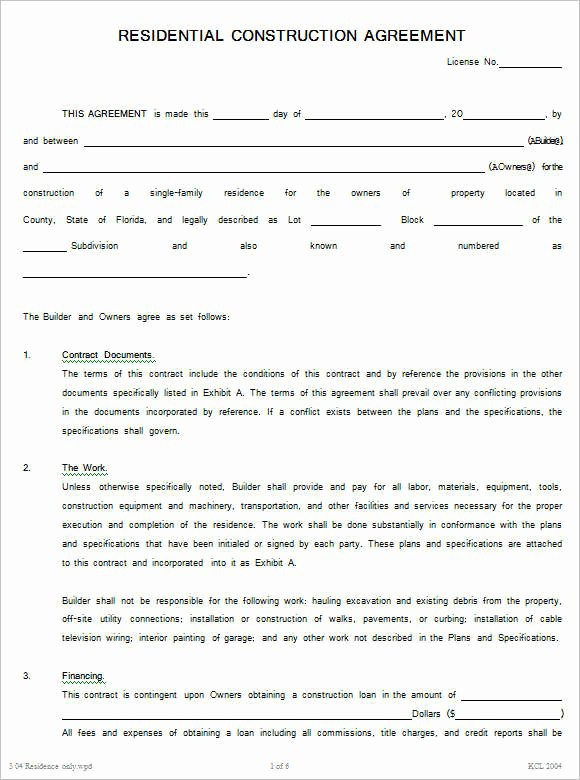 12 Construction Agreement Template Free Word Pdf formats