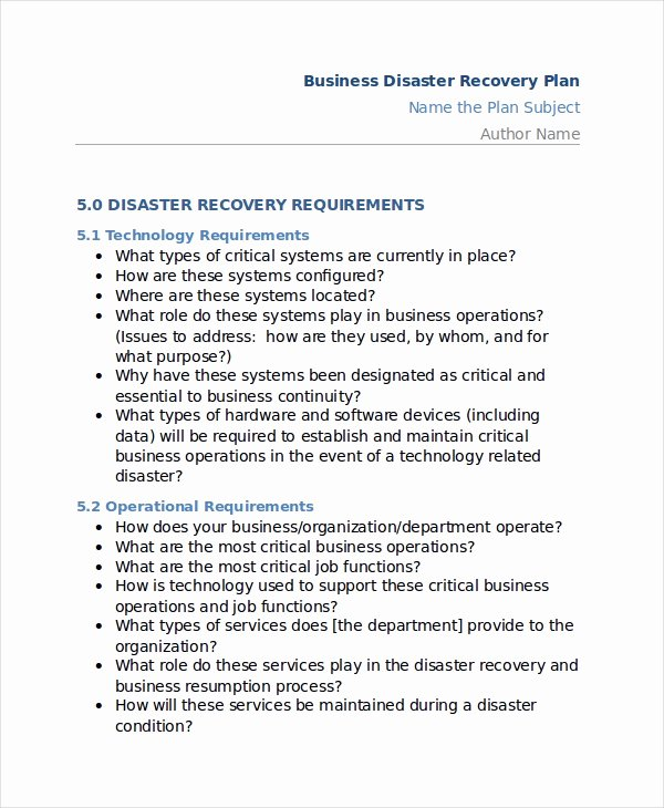 12 Disaster Recovery Plan Templates Free Sample