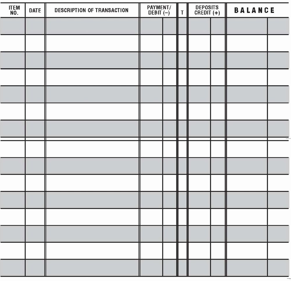 12 Easy to Read Checkbook Transaction Register Large Print