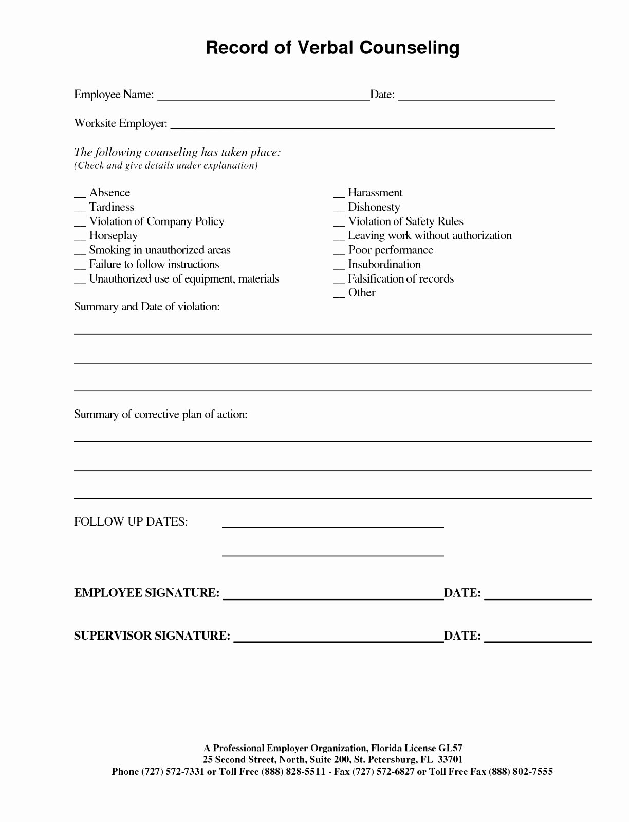 12 Employee Discipline form Template Free Raytc