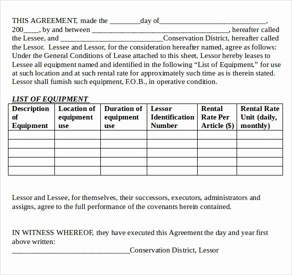 12 Equipment Lease Agreement – Samples Examples & format