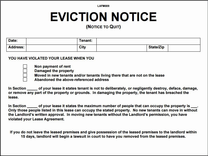 12 Eviction Notice Template Examples