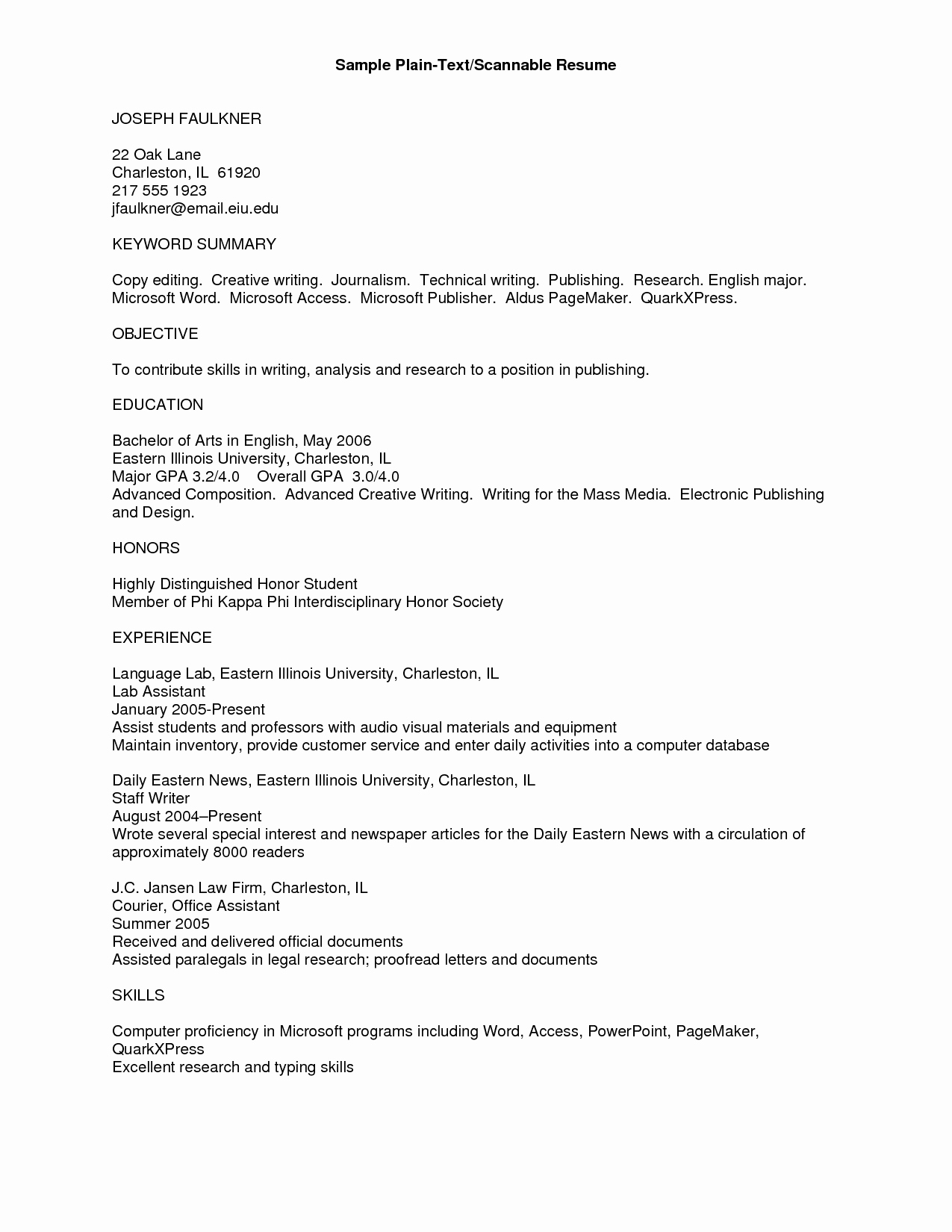 12 Examples Plain Fonts Plain Text Resume