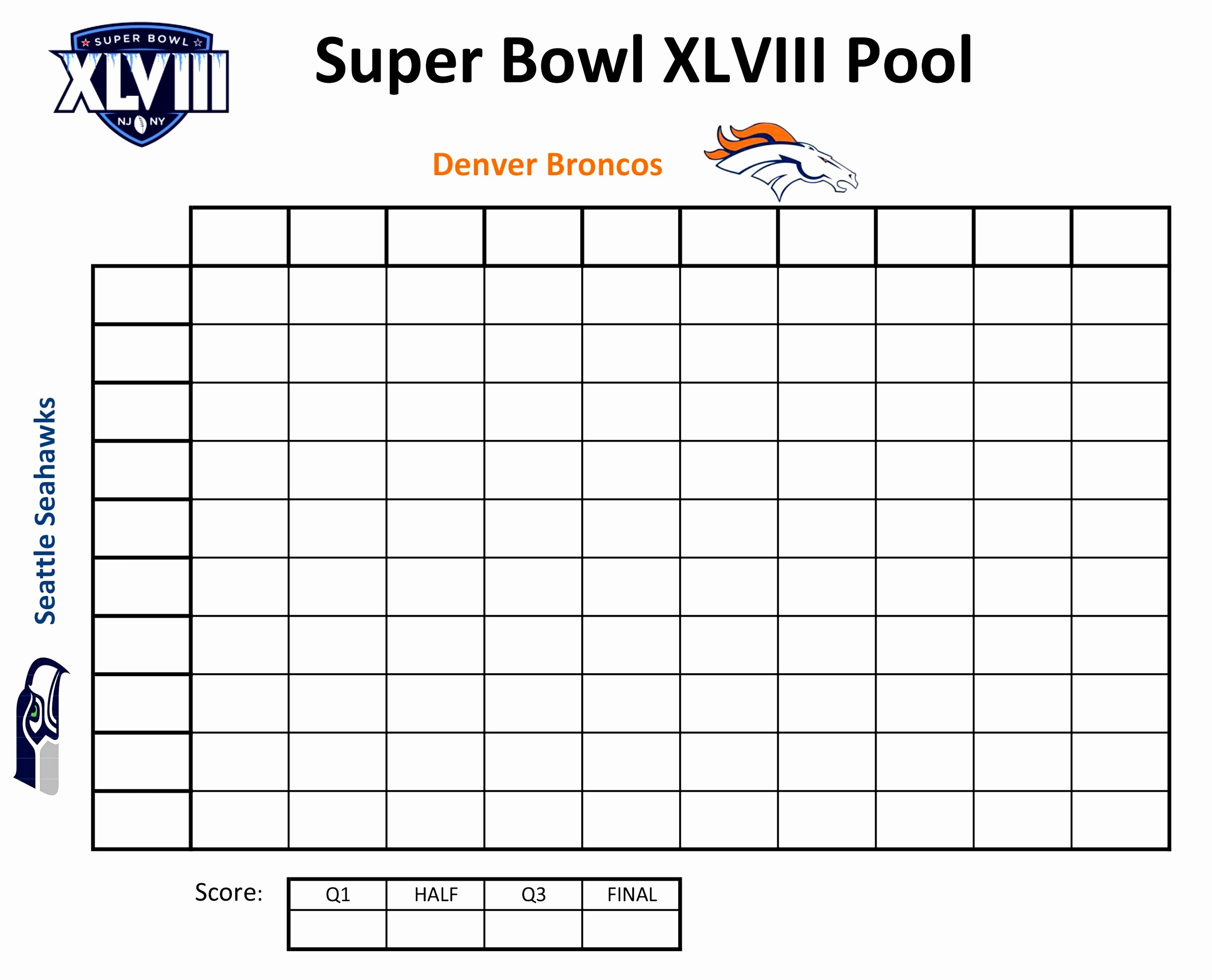 12 Excel Super Bowl Squares Template