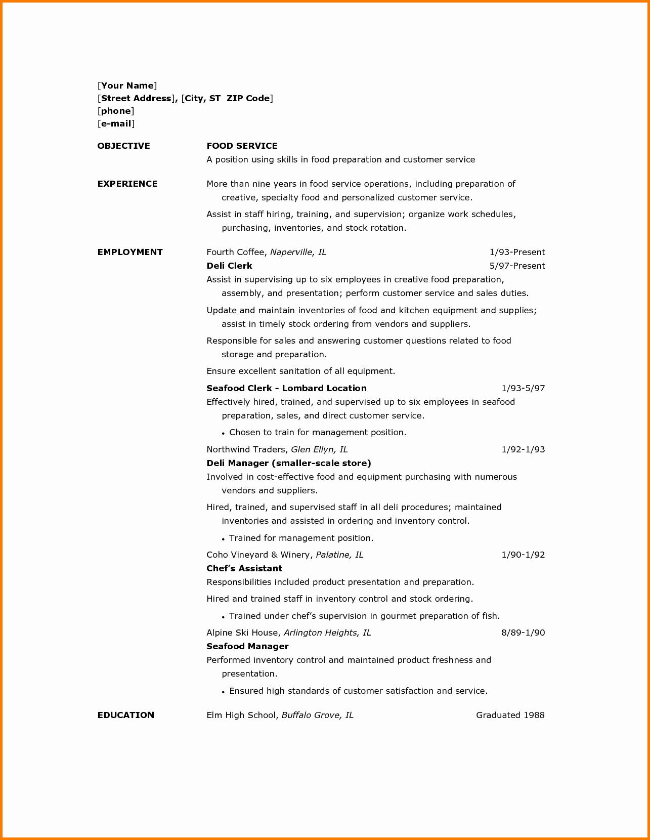12 Food Service Resume Samples