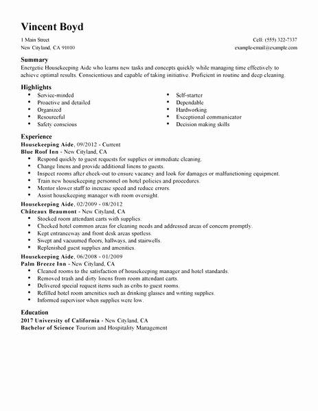 12 free housekeeping resume sample