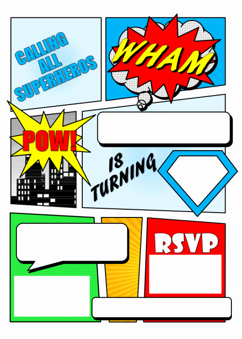 12 Free Printable Blank Superhero Birthday Invitation