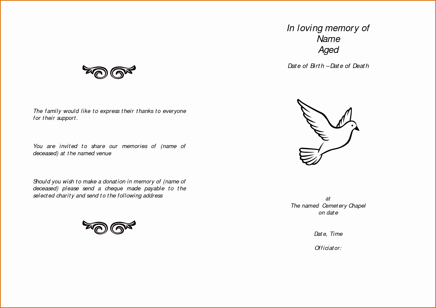 12 Free Printable Funeral Program Template