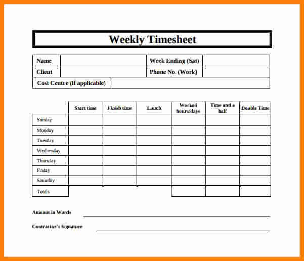 12 Free Printable Weekly Timesheet Template