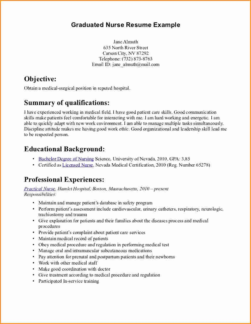 12 Graduate Nurse Resume Examples