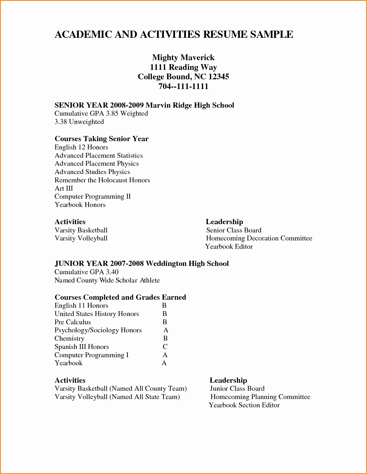 12 High School Academic Resume
