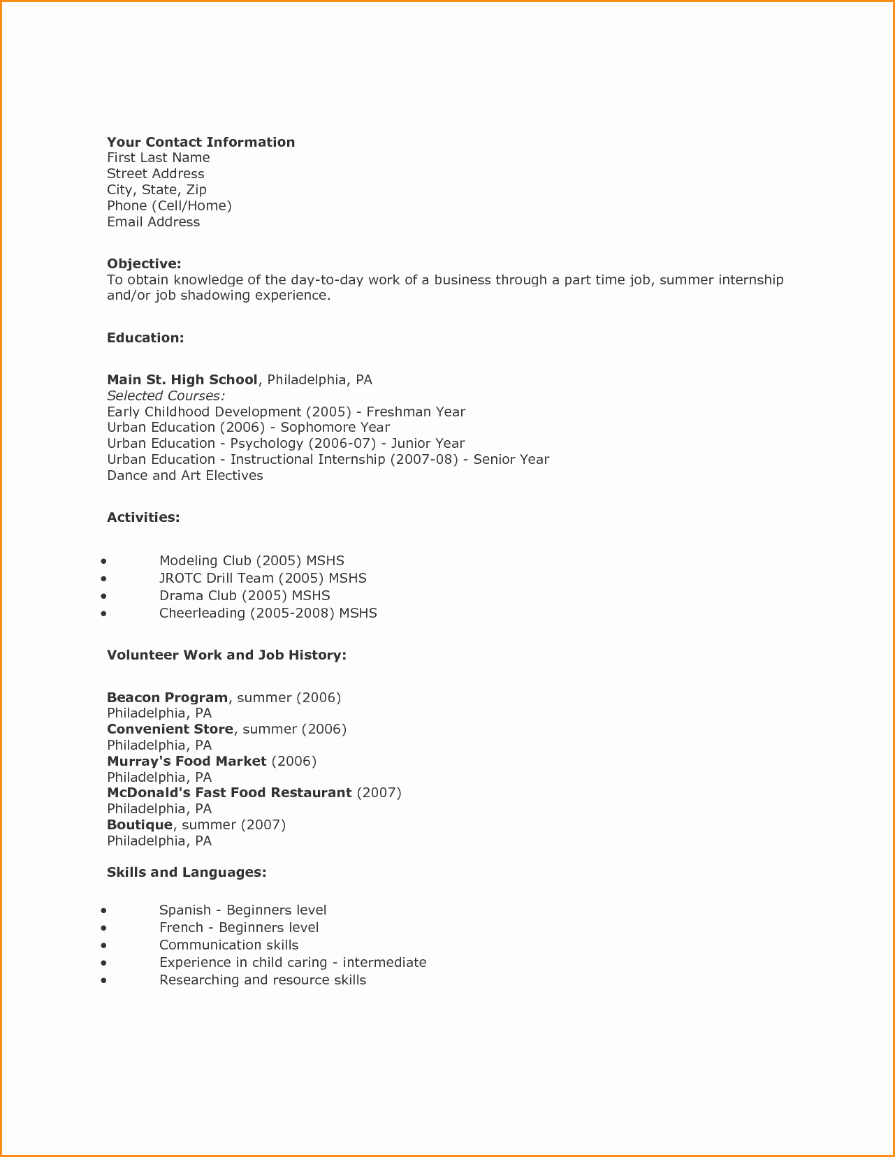 12 High School Student Resume First Job – Latter Example