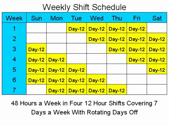 12 Hour Schedules for 7 Days A Week 1 4 Download