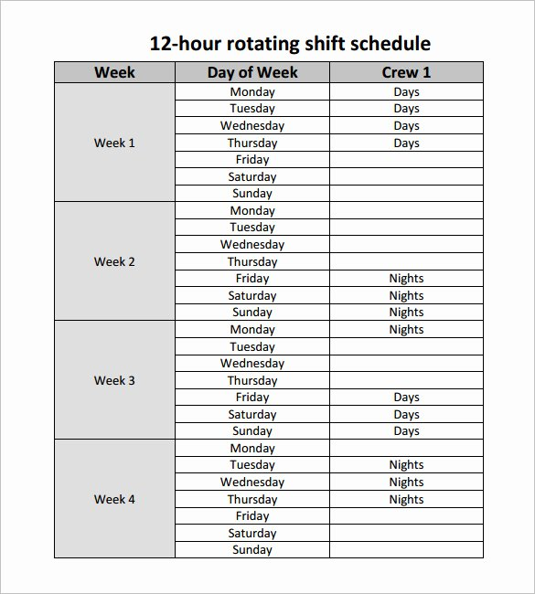 12 Hour Shift Schedule Template 10 Free Word Excel
