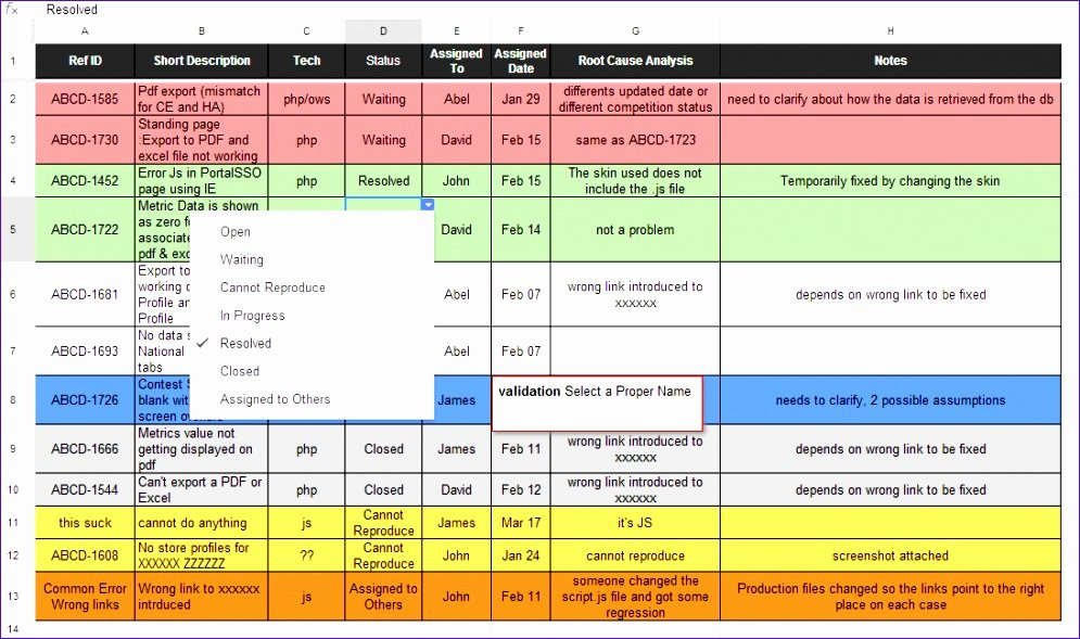 12 issue Tracking Spreadsheet Template Excel