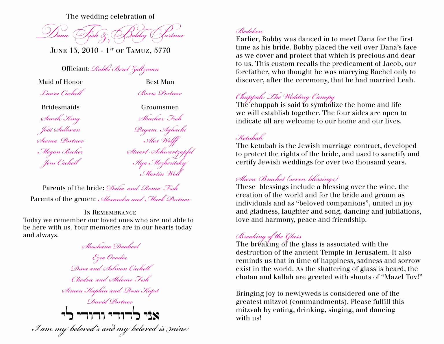 12 Jewish Wedding Ceremony Program Template Ziyqu