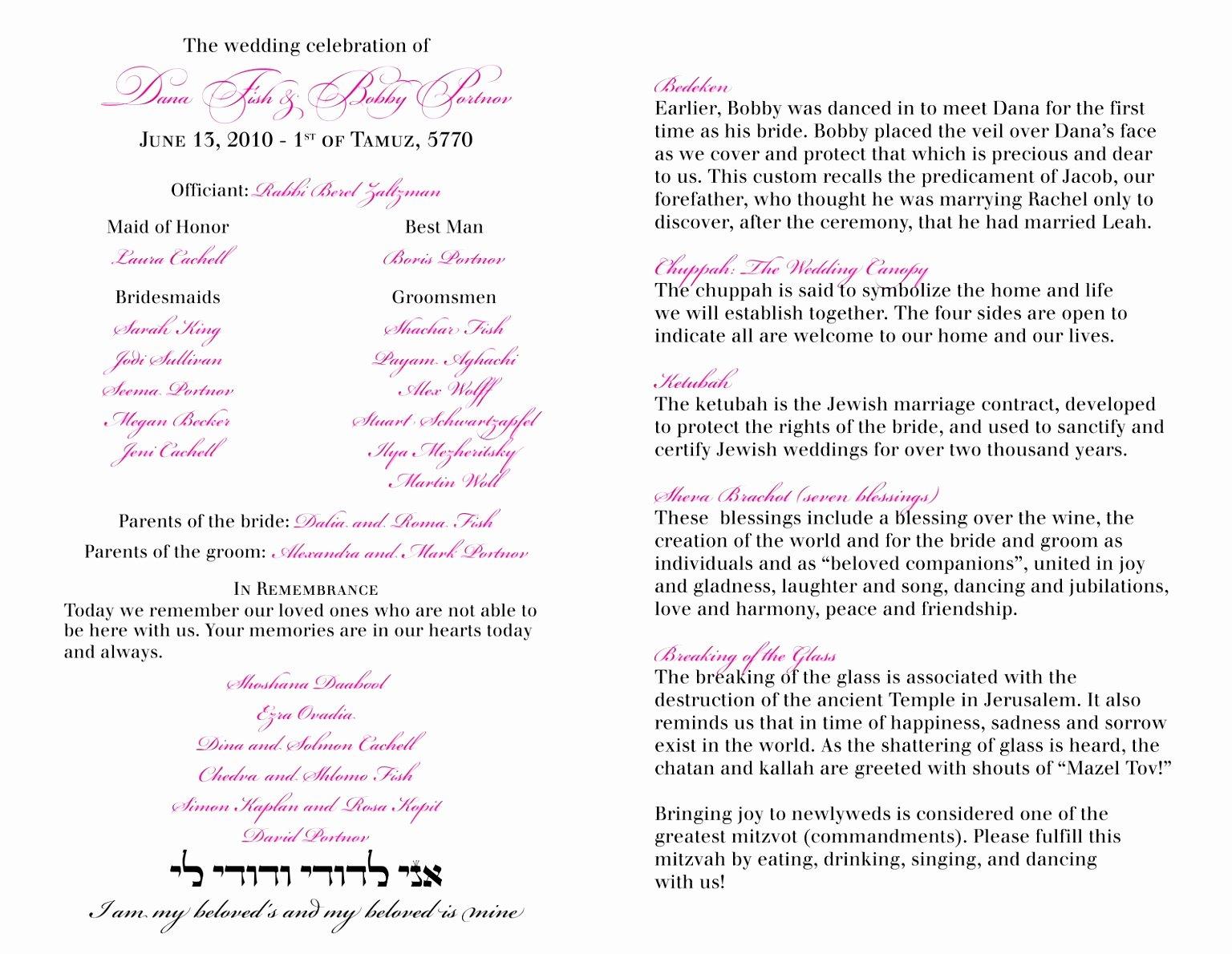 12 Jewish Wedding Ceremony Program Template Ziyqu