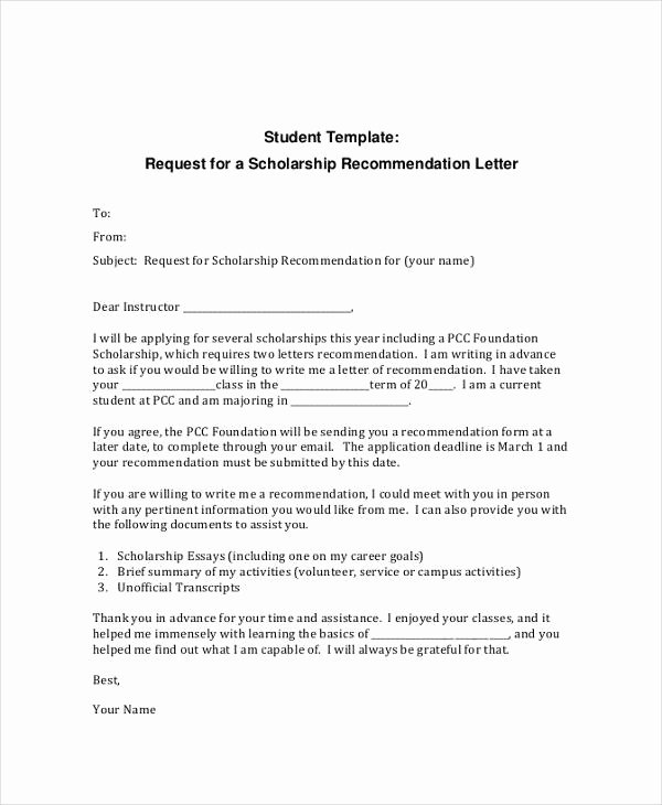 12 Letter Of Re Mendation for Student Templates Pdf