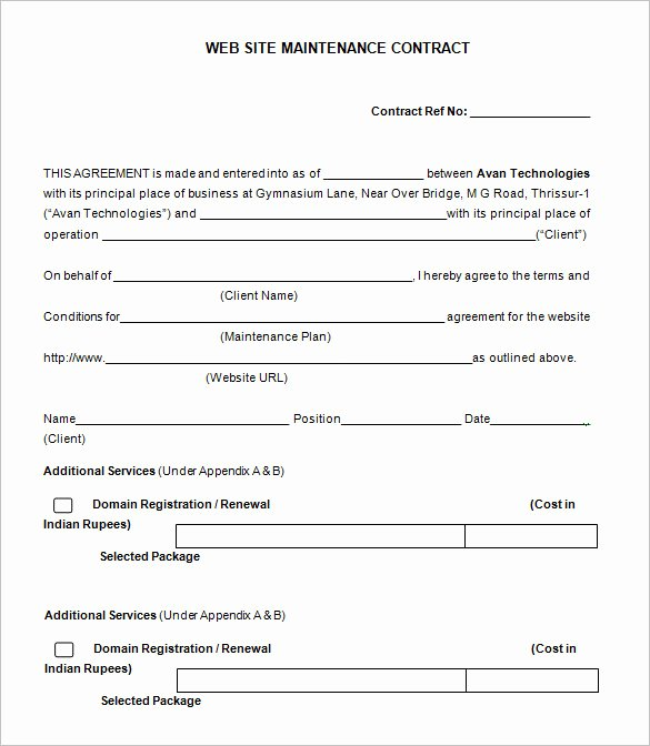 12 Maintenance Contract Templates Doc