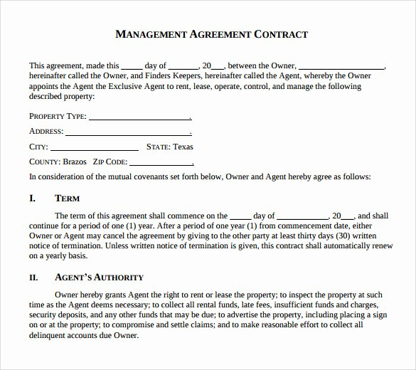 12 Management Agreements to Download