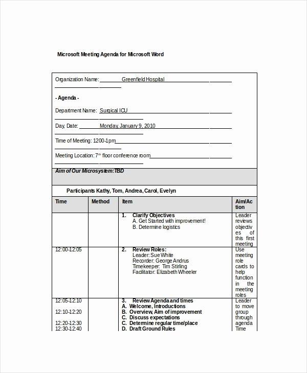 12 Microsoft Meeting Agenda Templates – Free Sample