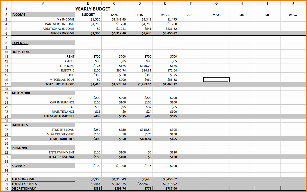 12 Month Bud Template Excel Monthly Spreadsheet