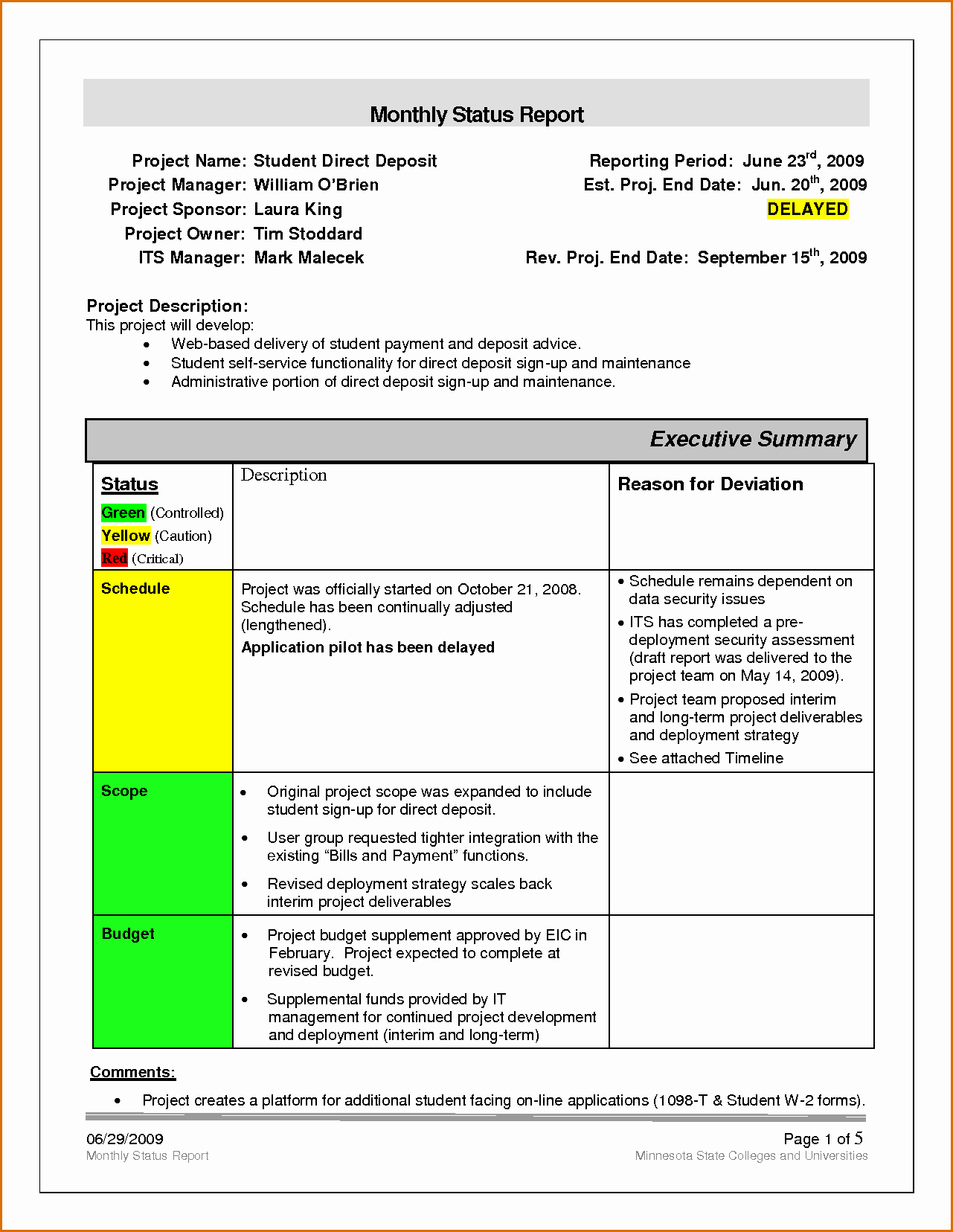 12 Monthly Status Report Template