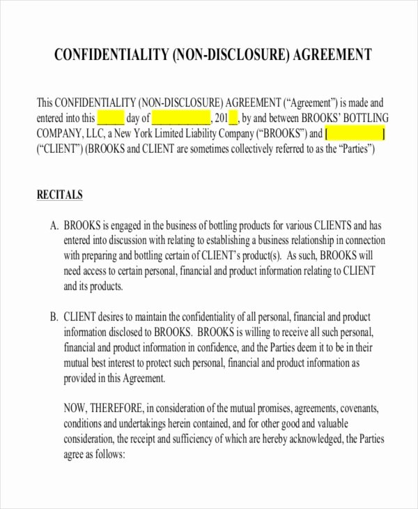 12 Non Disclosure Agreement Templates Free Sample