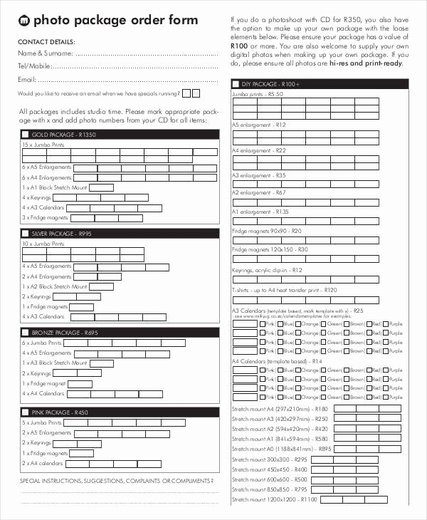 12 Package order forms Free Sample Example format